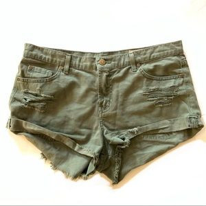 Pistola | Olive Green Jean Cutoff Shorts Medium